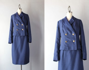 1960s Suit / Vintage 60s Navy Blue Suit Set / 60s Double Breasted Jacket and Pencil Skirt