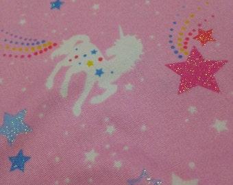 One Yard Japanese Cotton Fabric Unicorn Pink Stars Glitter