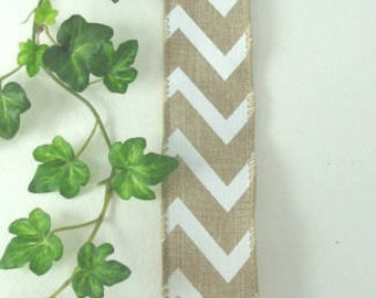 "Wired ribbon 5 Yards Spring Natural Brown White Chevron 1 1/2"" Bows Wreaths Wedding Decor"