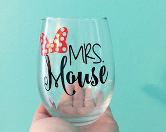 Mrs. Mouse /// Minnie Mouse /// Stemless Wine Glass