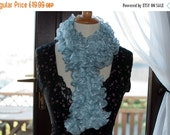 On Sale Handknitted Ruffles Scarf in Pale Blue