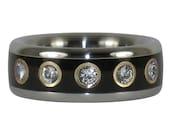 Twelve Diamond Black Wood Titanium Ring