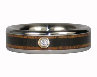 Diamond Ring with Koa and Blackwood in Titanium