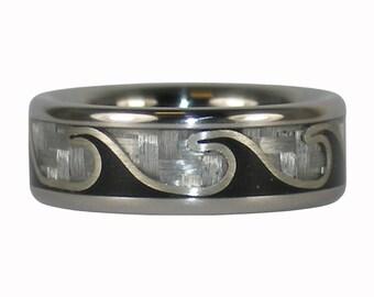 Black Wave Titanium Ring with Carbon Fiber and Jet