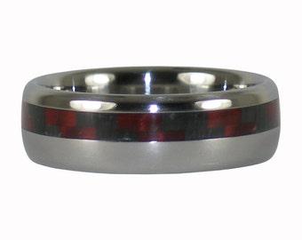 Titanium Ring with Red Carbon Fiber