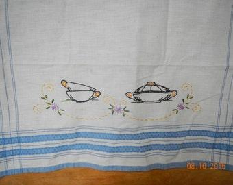 Vintage Tea Towel Blue Stripes Embroidered Teacups Floral Design