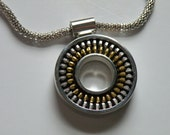 Recycled Vintage Zipper Silver Circle Necklace