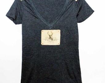 Deer Women's Tshirt, Print Tshirt, Vneck Tshirt, Appliqued Tshirt, Stag Head Tshirt, Woodland Tshirt,  Vintage Style Tshirt
