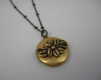 Locket Necklace Brass Flower Infinity Charm on Brass Beaded Chain Endless Love Romantic Flower Locket Keepsake Memories Gift Dainty Locket
