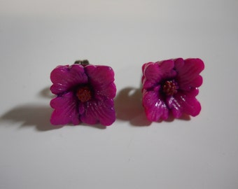 Vintage Japanese Flower Post Earrings Molded Celluloid Fuchsia Pink Rare Occupied Japan Stainless Steel Post Earrings Vintage Jewelry Dainty