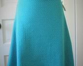 Jersey Knit Skirt - Turquoise Dot - Size Small