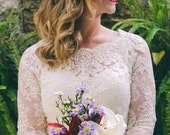 Ivory color Featured in the Style Me Pretty Fashion & Beauty Magazine 2013 and The Knot bridal lace top bridal lace bolero