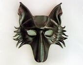 Wolf Fox or Dog Black Leather Mask