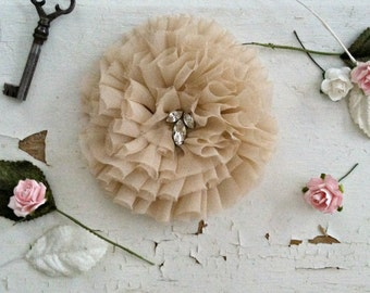 NUDE silk flower brooch pin / flower broach clip