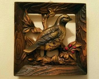 1960s Vintage Napcoware Pheasant and Partridge Ceramic Wall Hangings Square Ceramic Brown Bird Art Set from Japan