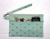 Mint Green Wristlet, Metallic Gold Clutch, Front Zippered Makeup or Phone Bag, Camera or Gadget Holder, Small Purse, Front Zip Womens Wallet