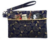 Gold Blue Floral Wristlet, Front Zippered Womans Purse, Small Floral Wallet, Makeup Bag, Phone or Camera Holder, Metallic Gold Floral Clutch