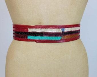 1980s belt / Vintage 80s Vintage Rainbow Snake Skin Belt