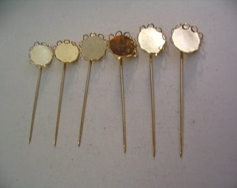 6 Vintage Stick Pins Settings Jewelry Supplies
