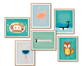 Flamingo Print, Fox Print, Dog Print, Whale Print, Ostrich Print, PRINTED SET, Baby nursery decor, Animal wall decor, Kids Room decor