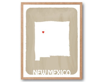 NEW MEXICO Map - BEIGE - Personalized Custom Color Watercolor Style State Map Wedding Birthday Anniversary GIft Children Kids Wall Art