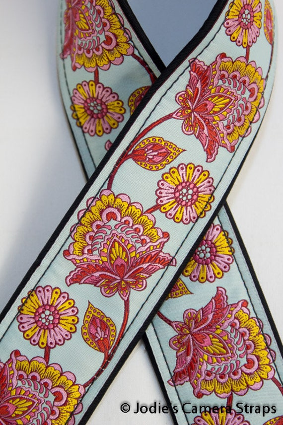 "Custom Camera Strap 2"" Wide Stawberry Flower Pink Red Blue"