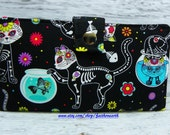 Day of the dead Skeleton Cats - Vegan Wallet - Handmade Long Wallet  BiFold Clutch
