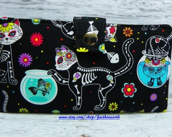 Day of the dead Skeleton Cats - Vegan Wallet - Handmade Long Wallet  BiFold Clutch or half size unisex wallet