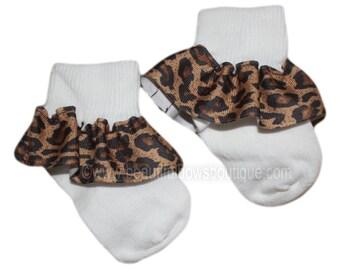 Leopard Baby Socks,Ribbon Ruffle Socks,Animal Print Baby Socks,Frilly Socks,Baby Ruffle Socks,Ribbon Socks,Frilly Baby Socks,Leopard