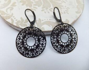 Black Lace Ring Earrings on black leverback earring hooks