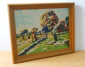 Vintage Paint By Numbers • Framed Rural Farm Landscape • Farm with Haystacks