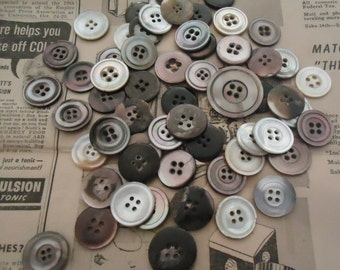 "Vintage Mother of Pearl MOP buttons antique mixed sizes 4 holes 11/16""-1 1/16"" USA"