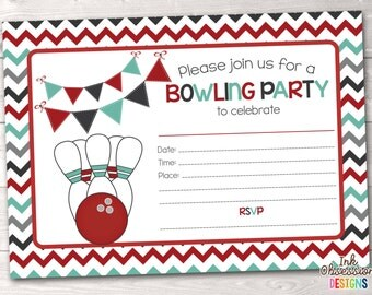 Printable Bowling Party Invitation Fill in the Blank Birthday Party Invite Instant Download PDF Red Teal Blue & Gray Chevron Stripes