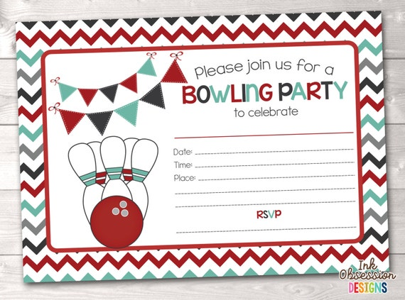 Printable Bowling Party Invitation Fill in the Blank Birthday – Printable Bowling Party Invitations