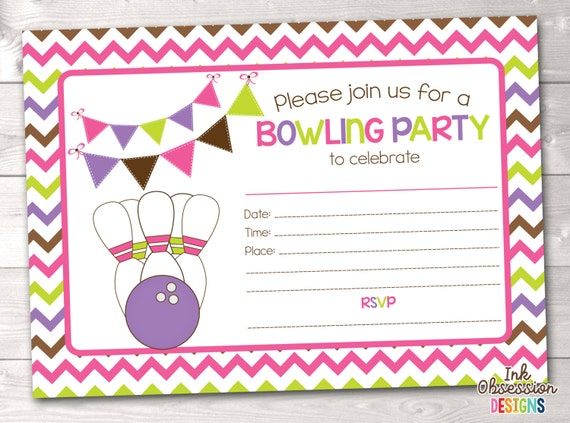Sizzling image in printable bowling party invitations