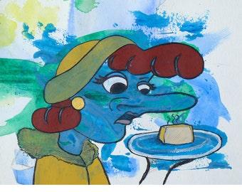 "Original OOAK Mixed Media Drawing - Disgusto series - ""Limburger"""