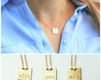 Square Personalized Necklace, Gold Initial Necklace, Personalized Jewelry, Gold Necklace, Couples, Best Friend Necklace, Sister Gift