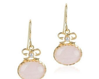 15% Discount Pink Quartz Bow Earrings