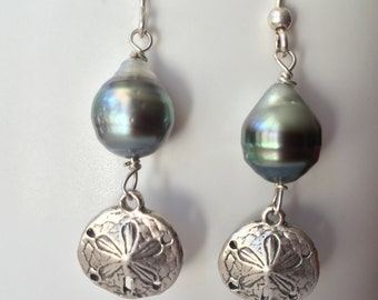 Tahitian Pearl Sand dollar earrings