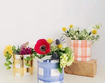 Handmade, Pottery, Vase, Plaid, Graphic Pattern, Preppy, Blue