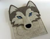 Siberian husky case for Kindle, Paperwhite, Voyage and Oasis // Felt e-reader case // Dog shoulder bag