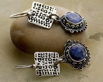 Fancy Blue Sillimanite Gemstones and Textured Sterling Silver Earrings . Rustic Tribal Southwestern Wabi Sabi Organic Boho Jewelry