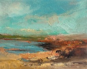 Tide at Low- Beach Painting- Textured Oil Painting- 8 x 10 Stretched Canvas- Gallery Wrapped 3/4 inch painted sides