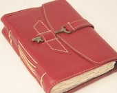 Magenta Leather Journal with Antique Skeleton Key Closure by Binding Bee