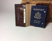 Dark brown faux snakeskin leather passport cover