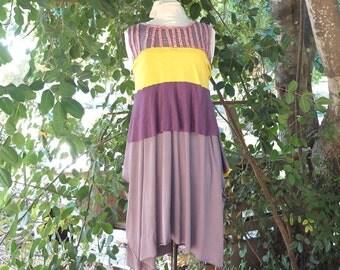 Dress - Aphrodite - Purple and Yellow -  Cotton Lycra - Hand Stitched Stripes