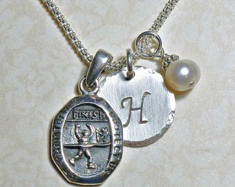 Runners Protect Us St Christopher Medal Sterling Silver Pendant Charm Necklace, Marathon Runners Necklace, St Christopher Medallion Necklace