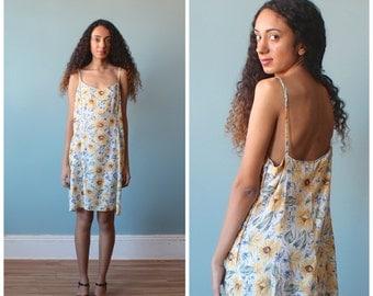 sunflower summer dress / 1990s floral dress / xs - small