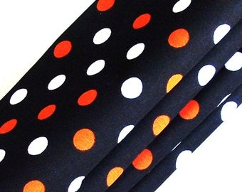 Orange, White & Black Polka Dot Cotton Napkins / Set of 4 / Eco-Friendly School Team Colors or Halloween Table Decor / Unique Gift Under 50