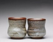 set of two handmade espresso cups, pottery teacup, yunomi with carbon trap shino glazes